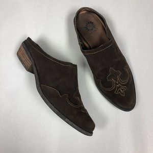 Yellow box Deanna-s brown mules